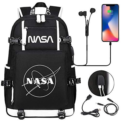 QIANGSH Astronaut Auriculares USB Mochila para Estudiantes Jóvenes Hombres Y Mujeres Mochila De Viaje De Ocio 21 Estilos por Imagen