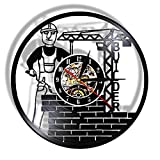 WERWN Reloj de Pared de diseño Moderno LED Arpa Hecha de Disco de Vinilo Real Reloj Decorativo Colgante Negro