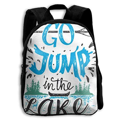 Mochila para niños divertida y duradera para volver a la escuela, mochila informal de viaje al aire libre – Go Jump in The Lake