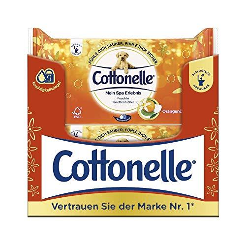 Cottonelle - Carta igienica umida con olio d'arancio, biodegradabile, richiudibile, confezione conveniente, 12 x 44 panni