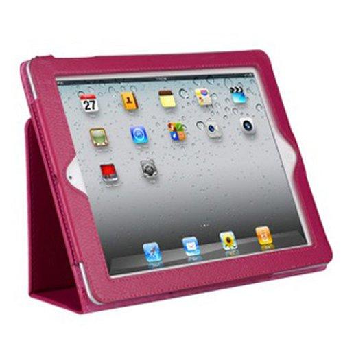 初代iPad 第1世代 専用 カバーケース 高級PUレザータイプ本体保護カバー (ホットピンク)