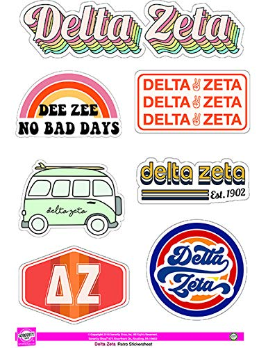 Delta Zeta - Sticker Sheet - Retro Theme