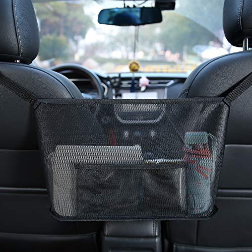 OUDEW Car Handbag HolderCar Net Pocket Organizer for Purse and BagsDog Car BarrierBlack