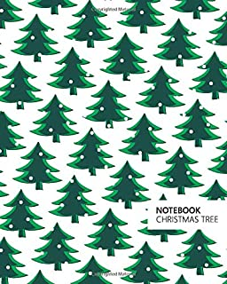Christmas Tree Notebook: (White Green) Fun notebook 192 ruled/lined pages (8x10 inches / 20.3x25.4 cm / Large Jotter)