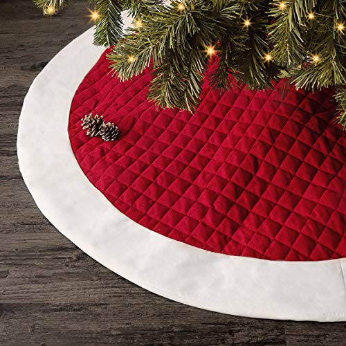 Ivenf Christmas Tree Skirt, 48 inches Large Red White Quilted Thick Luxury Skirt, Rustic Xmas Tree Holiday Decorations…