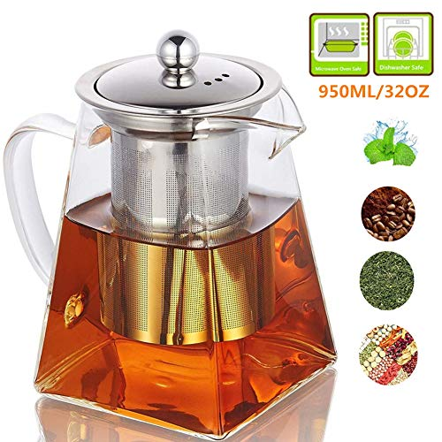 Glass Teapot with Infuser,820ML/29OZ Borosilicate Tea Kettle with Infuser for Loose Leaf Tea, Microwavable and Stovetop Safe -Square Shape