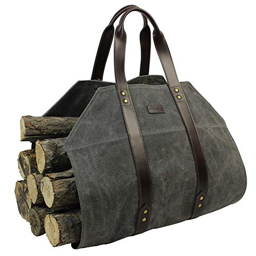 Log Carrier|Waxed Canvas Log Holder|Firewood Carrier Tote Bag|Fireplace Wood Stove AccessoriesGrey