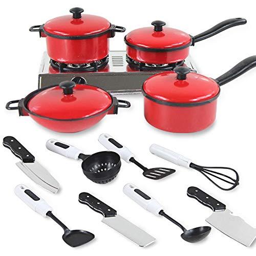 Gigicloud 13 Juegos de ollas y sartenes Utensilios de Cocina para niños Juguetes de la casa, Simulación Utensilios de Cocina
