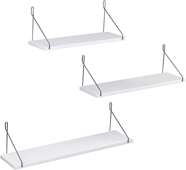 SONGMICS Set Of 3 Wall Shelves Floating Shelf Decorative Shelves For Living Room Kitchen Hallway Different Length 15 7 Inches 19 7 Inches 23 6 Inches White ULWS68WT