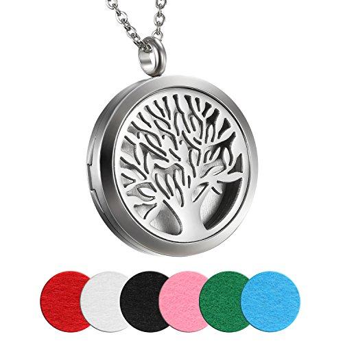 Cupimatch Damen Herren Retro Aromatherapie Diffusor Anhänger, Edelstahl Lebensbaum Locket Medaillon Anhänger 45cm Halskette mit 6 Pads, Silber