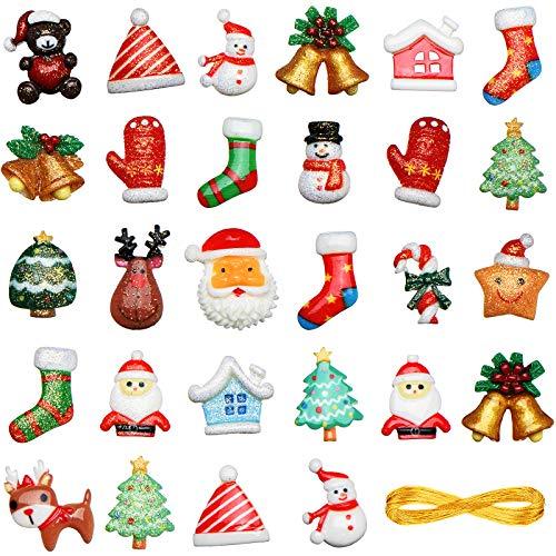 100 Pezzi Mini Ornamento Natale in Resina Miniature Natale Ornamento Kit Ornamento di Natale in Resina di Fiocco Neve Pupazzo Neve Babbo Natale per Decorazione di Albero Natale