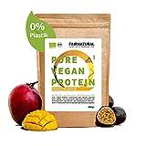 VEGAN Protein-Pulver BIO Mango ohne Soja [aus Deutschland] - 3K Bio Reis-, Hanfprotein & Erbsenprotein » Zum Backen & als Bio Protein-Shake « 650g Veganes Bio Eiweiß-Pulver
