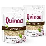 NATURACEREAL - Quinoa Blanca Premium (2 x 1kg) - | Mayor contenido de minerales que el arroz, | Rico en fibras y proteínas | Libre de gluten | Vegano | Sin ingeniería genética |