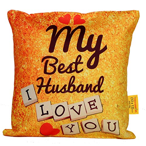 TIED RIBBONS Valentines Day Gift for Husband My Best Husband I Love You Cushion (12 inch x 12 inch) with Filler
