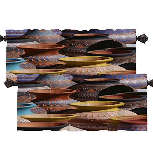 Batmerry Native American Kitchen Valances Half Window Curtain, Native American Southwestern Indian Art Kitchen Valances for Windows Heat Insulated Valance for Decor Reducing The Light 52x18 Inch