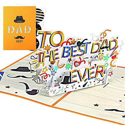 Towdesy 3D Pop Up Father's Day Card for Men Dad Husband, Birthday Greeting Card for Best Dad ,Best Dad Pop Up Card, Fathers Day Card, Greeting Card, Card for Dad from daughter Son