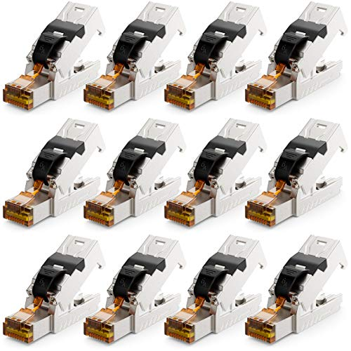 deleyCON 12x CAT 6a Netzwerkstecker RJ45 mit LSA Anschluss Werkzeuglos für Starre Verlegekabel LAN Kabel Netzwerkkabel RJ45 Stecker CAT6a Geschirmt Metallgehäuse 10Gbit/s