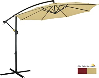 PATIO WATCHER 10ft Offset Cantilever Patio Umbrella Outdoor Market Hanging Umbrella with Crank & Cross Base for Backyard, Garden, Lawn and Pool - Beige