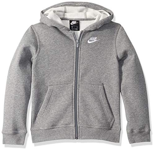 Nike Kinder Kinder Hoodie NSW Fz Club Hoodie, Carbon Heather/Smoke Grey/Whit, XL, BV3699