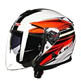 Dgtyui Casco moto aperto in fibra di vetro a doppia lente Casco moto aperto con fibbia a sgancio rapido Casco mezzo volto originale - 4 X XXL