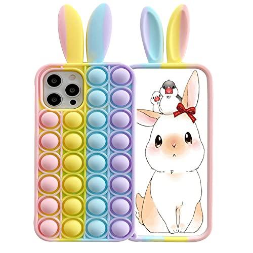 Ffish Funda para iPhone Xs Max (6.5''), empuje la burbuja Fidget alivio del estrés y la ansiedad cubierta con bola de pelo + soporte para teléfono celular, orejas de conejo