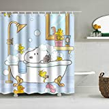 YHNM Home Badezimmer Duschvorhang,Snoopy Poster-60 × 72