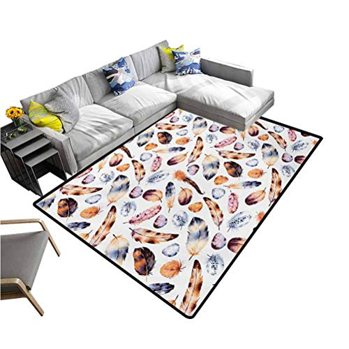 Peacock Large Area Rugs Hawk Peacock Tail Eagle Hummingbird Feathers in Vintage Wildlife Themed Image Soft Cozy Floor Mat Orange Blue (4'7'x6'6')