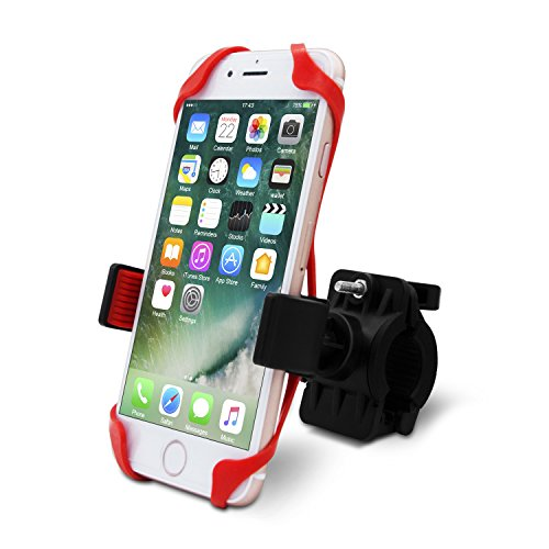 Suitable Bike Phone Mount, Bike Handlebar Cell Phone Holder Cradle for iPhone 7 / 7 Plus, Samsung Galaxy S6 S5 S4, Note 1 2 3 4, HTC One, Slide-Proof Clamp