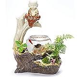 Acuario de cristal de cerámica – Fuente de agua Rockery Casa Sala de estar TV Gabinete en maceta humidificador de escritorio tanque de peces TC10