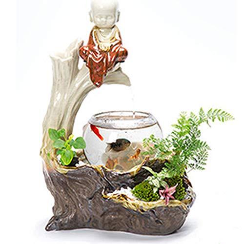 TOYBO ERMEI Wohnzimmer Aquarium TV-Schrank Keramik Steingarten Wasserfontäne nach Hause Topfbefeuchter Desktop-Aquarium-TC10