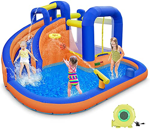 GIKPAL Inflatable Water Slide, Indoor Outdoor Water Bounce House with Pool Slide, Jump and Splash Adventure Bouncy Castle, Jumping Castle Slide, Fun & Birthday Party for Kids(Free 450W Blower)