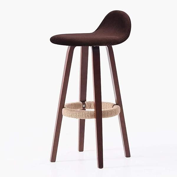 Carl Artbay Wooden Footstool Dark Red Cushion Brown Wooden Frame Bar Chair Armchair Home Bar Stool High Stool Home Color Hemp Rope