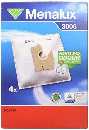 Menalux 3006 - Pack de 4 bolsas sintéticas para aspiradoras Hoover Brave, Capture, Freespace EVO y Sprint