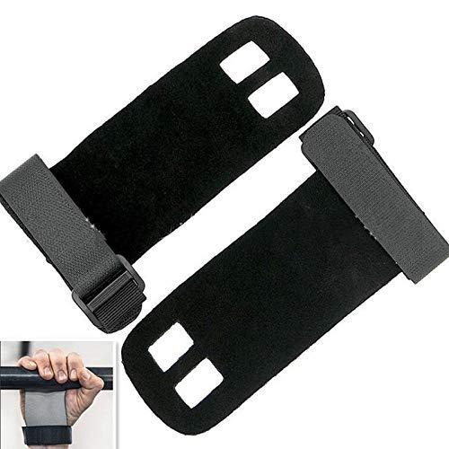 AYDQC Zweilochgewichtschutz Palm Handschuhe Gymnastic Schutzhandschuhe Protektoren, Größe: S (Weiß Grau) (Farbe: Schwarz) fengong (Color : Black)