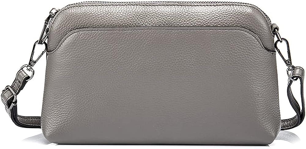 Simple Zipper Purse Coin Pocket Genuine Leather Phone Bag Women Large Capacity Clutch Wristlet Wallet Crossbody Shoulder Bag