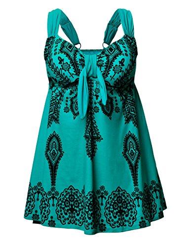 NONWE Women's Plus-Size Swimsuit Retro Print Two Piece Pin up Beachwear Swimwear,Tile Blue,US 24-26W