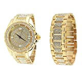 techno kc diamond watch - Mens 14k Gold Plated Bling Hip Hop Iced Style Analog Lab Diamond Metal Watch and Bracelet Set