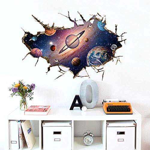 3D Torn Hole Ripped Wall Sticker Cosmic Planet Astronaut in Space Solar Milky Way Galaxy Wallpaper Creative Home Decor Mural PVC