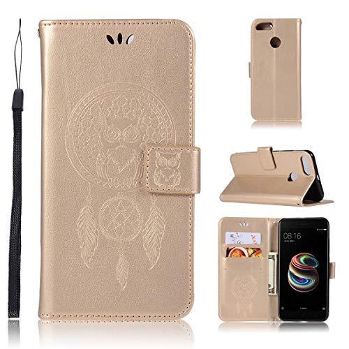Sangrl Funda para Xiaomi Mi A1, Libro Cuero de la Premium PU Leather Case búho Pattern Protective Case para Xiaomi Mi A1 / Xiaomi Mi 5X - Gold