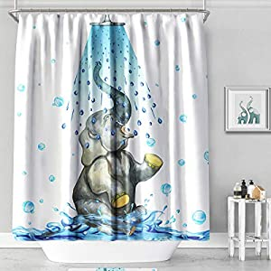 MACOFE Palm Leaves Polyester Fabric Shower Curtain 71x71,Hook Included,Waterproof Bathroom Curtain(White 1)