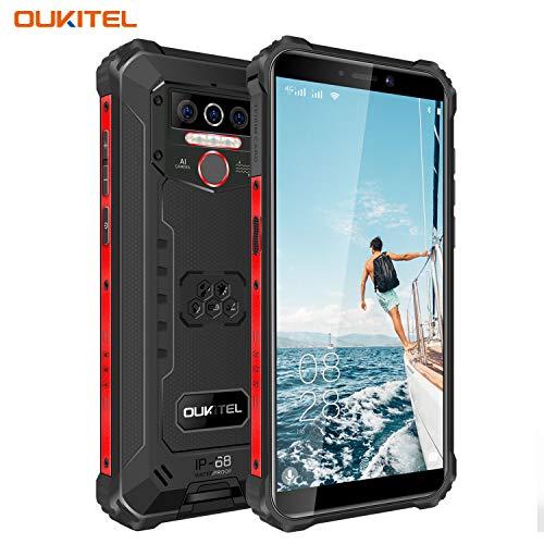 OUKITEL WP5-4G Outdoor Smartphone ohne Vertrag,5.5 Zoll 8000mAh Akku MTK6761 4GB + 32GB, IP68 13MP + 2MP + 2MP Robustes Handy,Android 9.0,Triple Kamera,Gesichtserkennung (Schwarz)