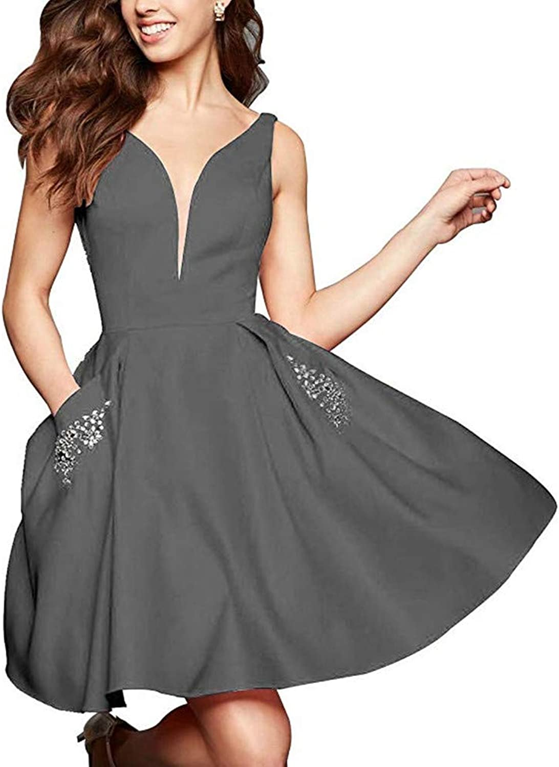 Women's Satin Beading Short Homecoming Dresses V Neck with Pocket Prom Party Gowns