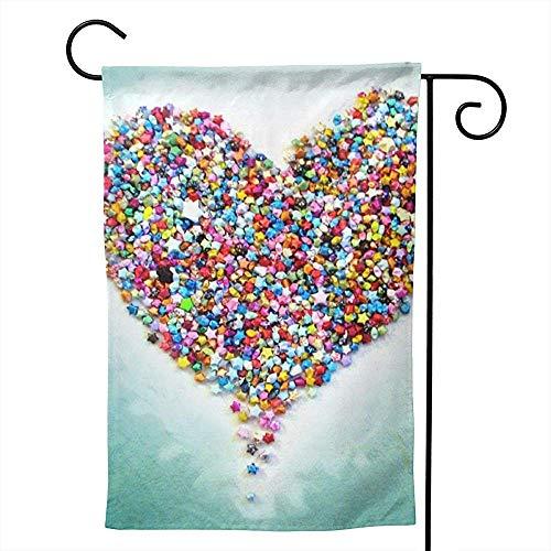 CHANGSHABF Tuinvlaggen, Huis Tuin Lovelife Behang Ster Bloem Hart Emotion Kleurrijke Decoratie 30X45Cm Dubbelzijdige Tuinvlag