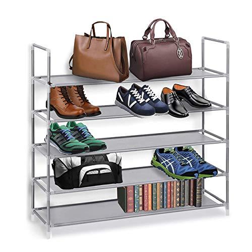 Halter 5 Tier Free Standing Shoe Rack Shoe Rack for Entryway Bedroom Closet Storage Organizer Stackable Shoe Storage Rack Space Saving Shoe Shelf Gray