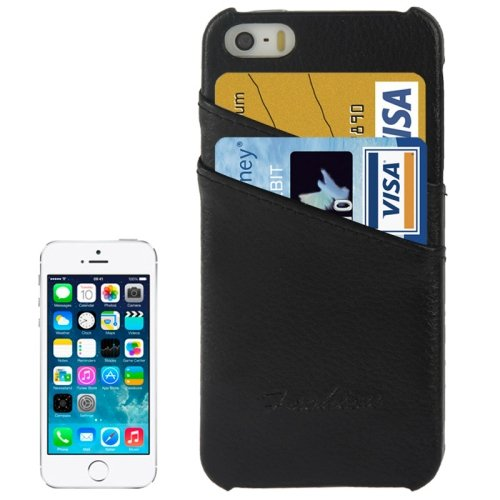 alsatek Schutzhülle PU-Leder für iPhone 5/5S, Motiv schwarz Litchi Textur Tür Karte Integriertes
