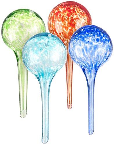 Royal Gardineer Blumenbewässerung: 4er-Set Gießfrei-Bewässerungs-Kugeln aus Glas, bunt, Ø 6 cm (Wasserspender für Topfpflanzen)