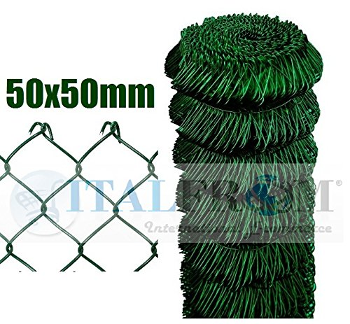 ITALFROM Rotolo 25mt Recinzione Rete Metallica Zincata Plastificata Maglia Sciolta Maglia:mm50X50 Diametro Filo:mm2,4 Altezza Rete:150 cm cod.2173