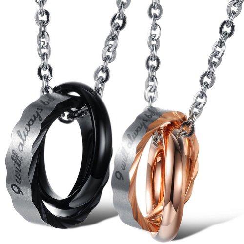 JewelryWe Schmuck 2 Freundschaftsketten Ringe Zirkonia Diamant Edelstahl Partner-Anhänger mit 45cm und 55cm Kette, Halskette für Damen & Herren, Gold Schwarz Silber