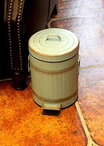 Poubelle Vintage, Iron Art Corbeille Américaine Peut Salon Cuisine Chambre Extérieur Poubelle Can 5L / 12L (Couleur : Bleu, taille : 25 * 44CM)