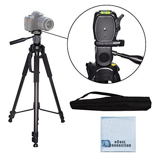 "72"" Professional 3-Way Pan Head Tripod with Dual Bubble Level Indicators for All Canon Sony, Nikon, Samsung, Panasonic, Olympus, Kodak, Fuji, Cameras and Camcorders + eCost Microfiber Cloth"